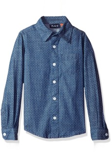 The Children's Place Little Boys' Cotton Printed Chambray Shirt  XS (4)