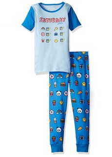 The Children's Place Girls' Little Short Sleeve Top and Pants Pajama Set Saturday (Spring Blue) 761