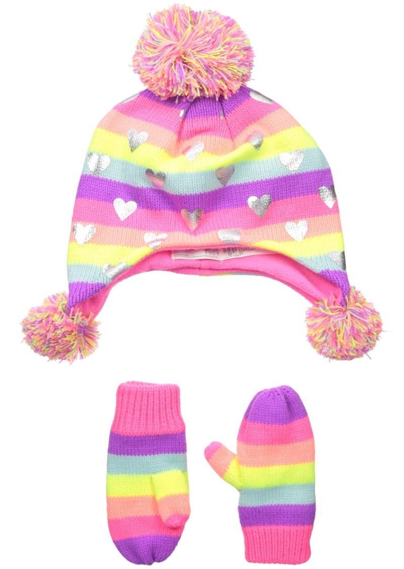 The Children's Place Little Girls and Toddler Trapper Hat and Mittens