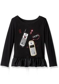 The Children's Place Little Girls' Peplum Graphic Knit Long Sleeve Top