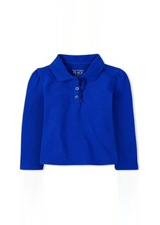 The Children's Place Uniform Long Sleeve Ruffle Pique Polo (Toddler)