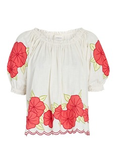 The Great Floral Garland Puff Sleeve Top