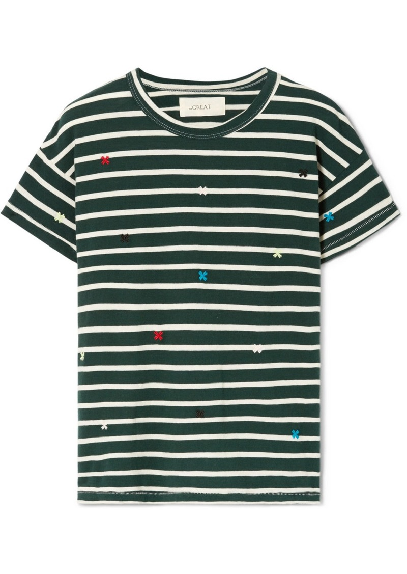 The Great The Boxy Crew Embroidered Striped Cotton-jersey T-shirt
