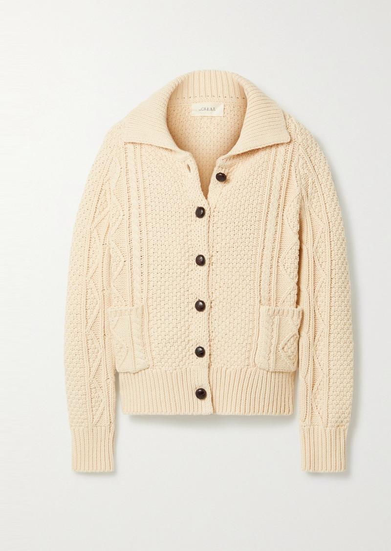 The Great The Cable Cotton-blend Cardigan