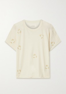 The Great The Crop Embroidered Cotton-jersey T-shirt
