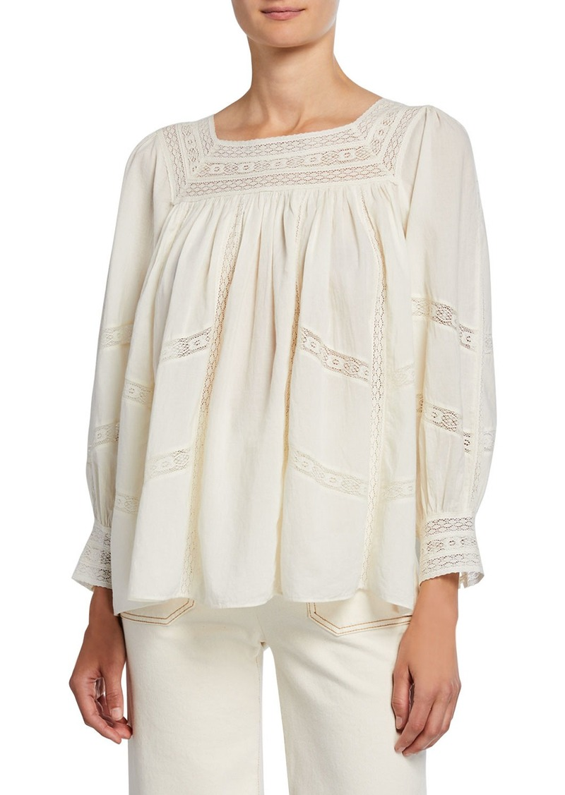 The Great The Desert Top with Lace Insets