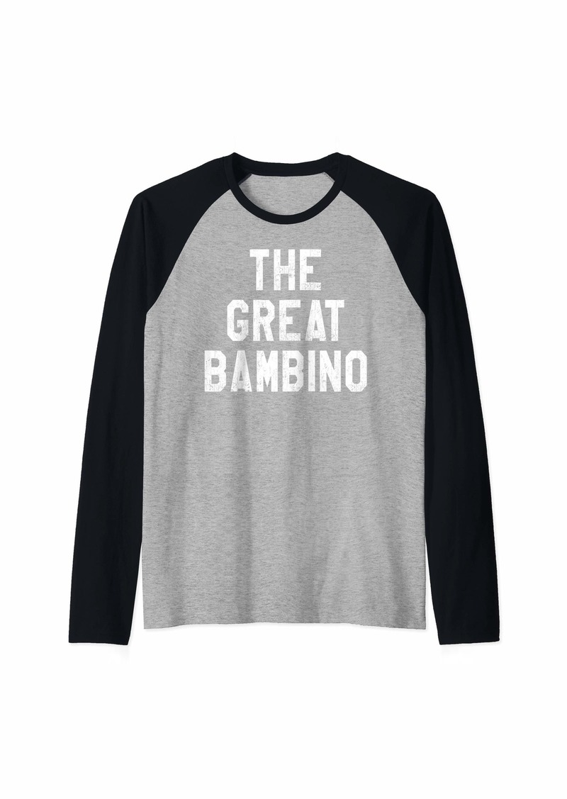 The Great Bambino Baseball Hitter Vintage Distressed Raglan Baseball Tee
