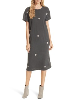 THE GREAT. Boxy Embroidered T-Shirt Dress