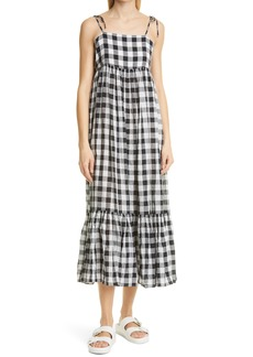 THE GREAT. The Dainty Gingham Linen & Cotton Sundress
