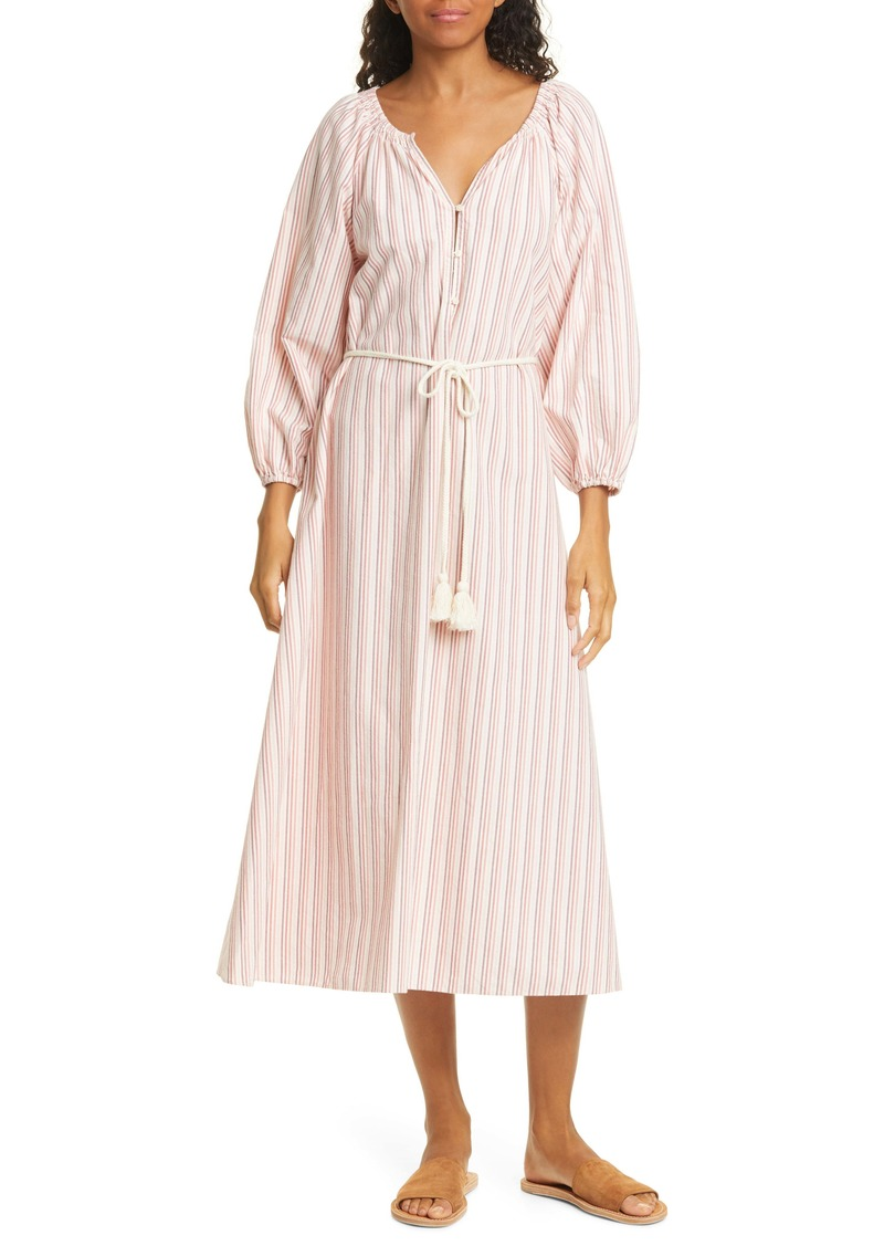 THE GREAT. The Derby Stripe Long Sleeve Midi Dress