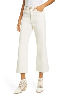 THE GREAT. The Rider High Waist Crop Flare Jeans (Stone)