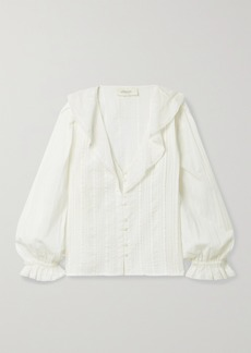The Great The Hankie Lace-trimmed Pintucked Cotton-voile Blouse