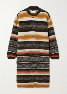 The Great The Long Bomber Striped Wool-blend Cardigan