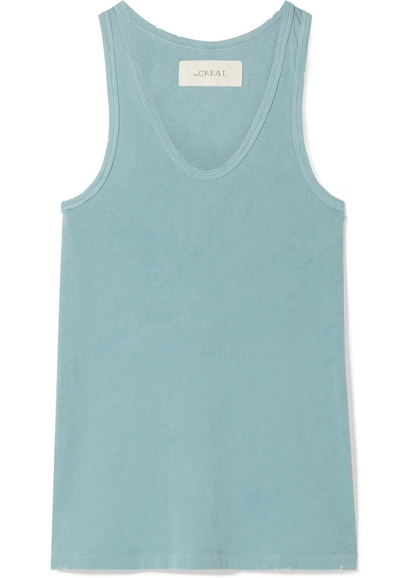 The Great The Racer Distressed Cotton-jersey Tank