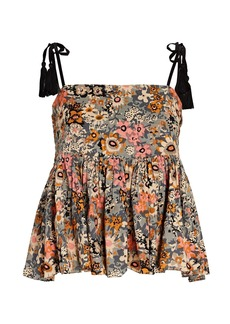 The Great The Tassel Tie Floral Cotton Camisole