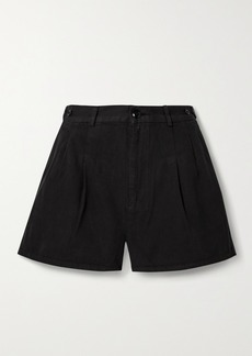 The Great The Trouser Pleated Cotton-twill Shorts