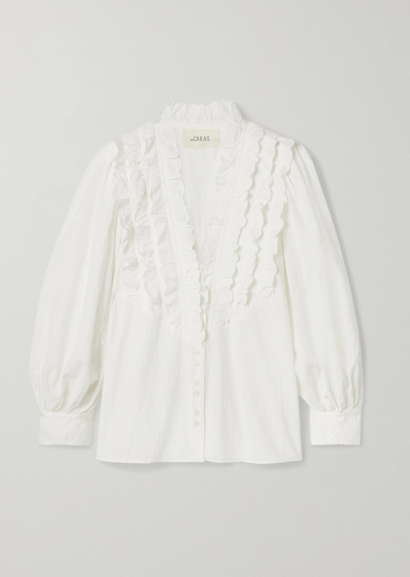 The Great The Tuxedo Ruffled Grosgrain-trimmed Crinkled Cotton-voile Blouse