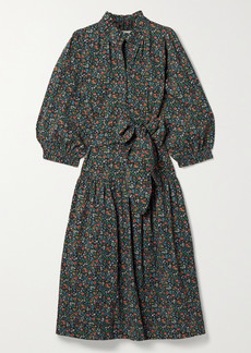 The Great The Venetian Belted Floral-print Cotton Midi Dress