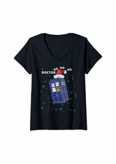 The Great Womens DOCTOR HO HO HO police box Christmas Tee V-Neck T-Shirt