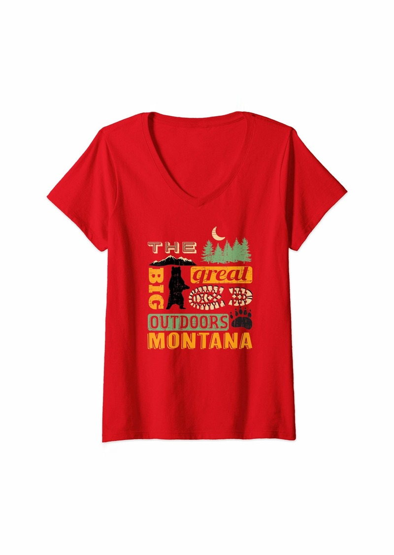 The Great Womens Montana Great Outdoors product - Souvenir / Gift V-Neck T-Shirt