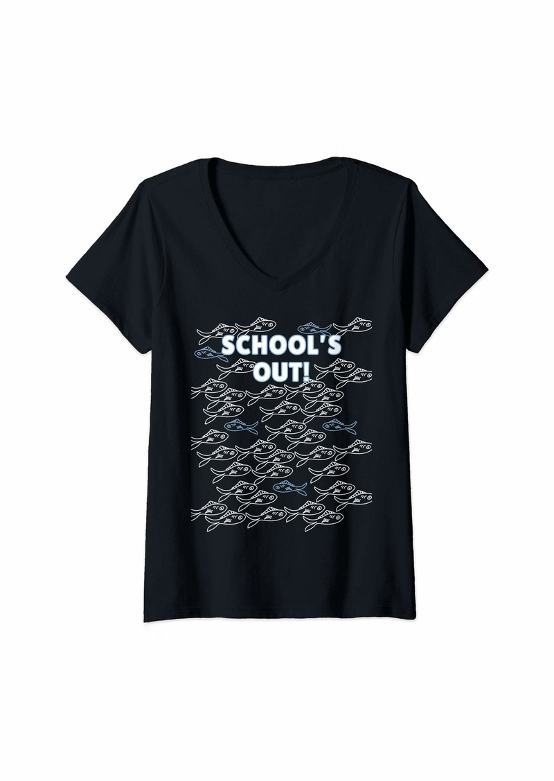 The Great Womens School's Out for the Summer Fish Shirt for Kids & Teachers V-Neck T-Shirt