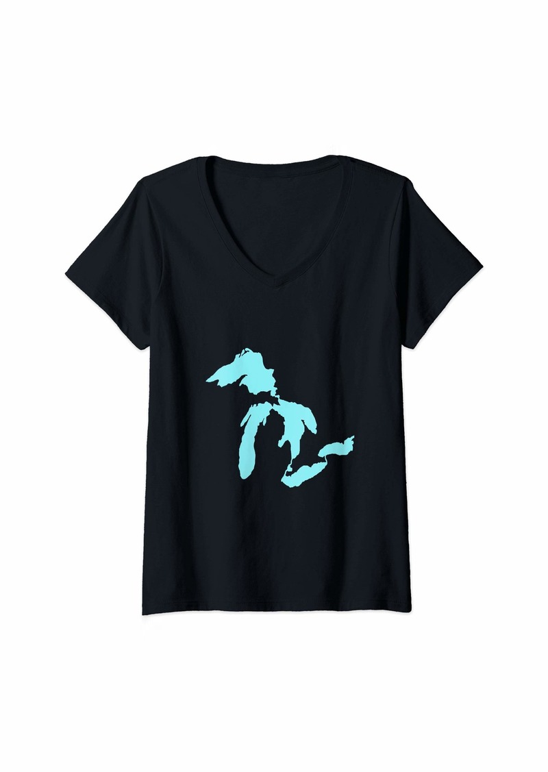 Womens The Great Lakes Tee Blue     V-Neck T-Shirt