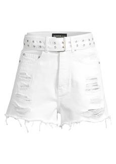 The Kooples Belted & Distressed Denim Cutoff Shorts