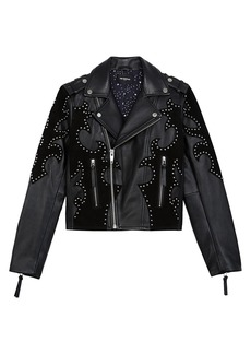 The Kooples Blouson Embroidered Leather Moto Jacket