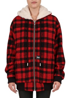 The Kooples Check Hooded Zip-Front Jacket