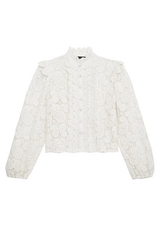 The Kooples Chemise Lace Long-Sleeve Blouse