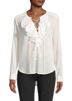 The Kooples Crinkled Ruffle Lace-Up Blouse