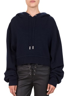 The Kooples Cropped Wool/Cashmere Hooded Sweater
