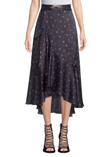 The Kooples Ditsy Print Silk High-Low Skirt
