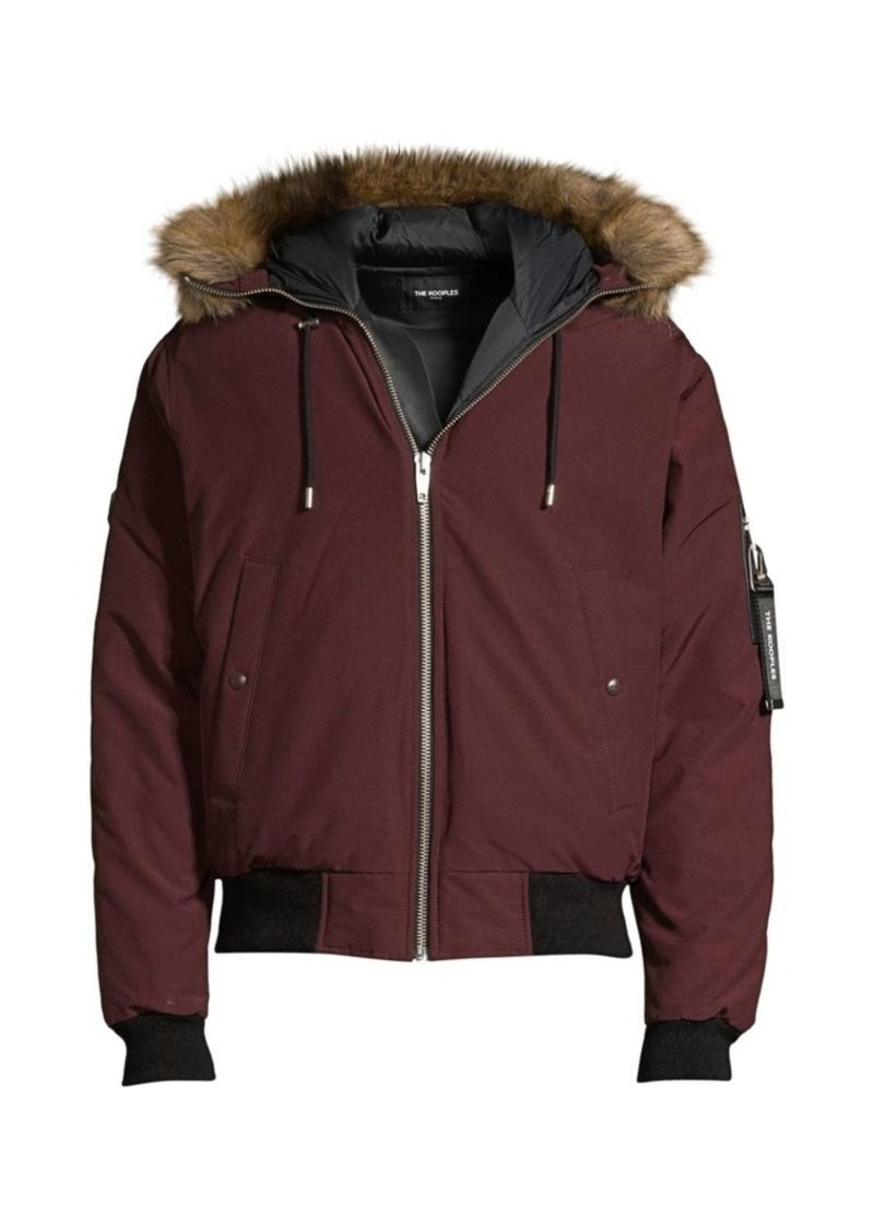 The Kooples Faux Fur-Trim Down Puffer Jacket