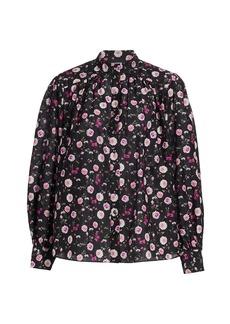 The Kooples Floral Cotton & Silk Band-Collar Shirt