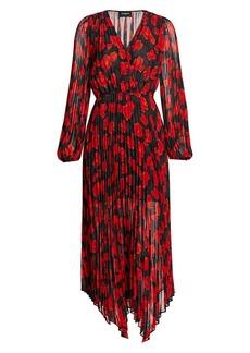 The Kooples Floral Pleated Handkerchief Wrap Dress