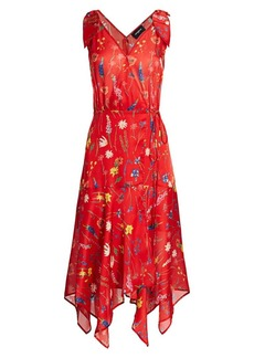 The Kooples Floral Print Midi Wrap Handkerchief Dress