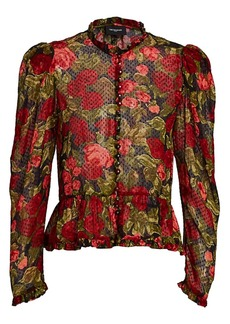 The Kooples Floral Puff-Sleeve Blouse