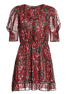 The Kooples Floral Puff-Sleeve Flare Dress