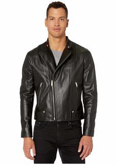 The Kooples Leather Biker Jacket with Metal Details