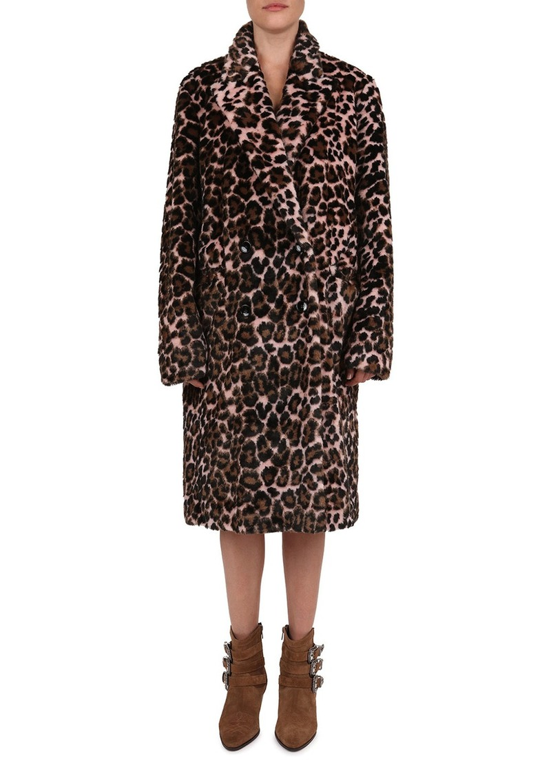 The Kooples Leopard-Print Faux Fur Double-Breast Coat