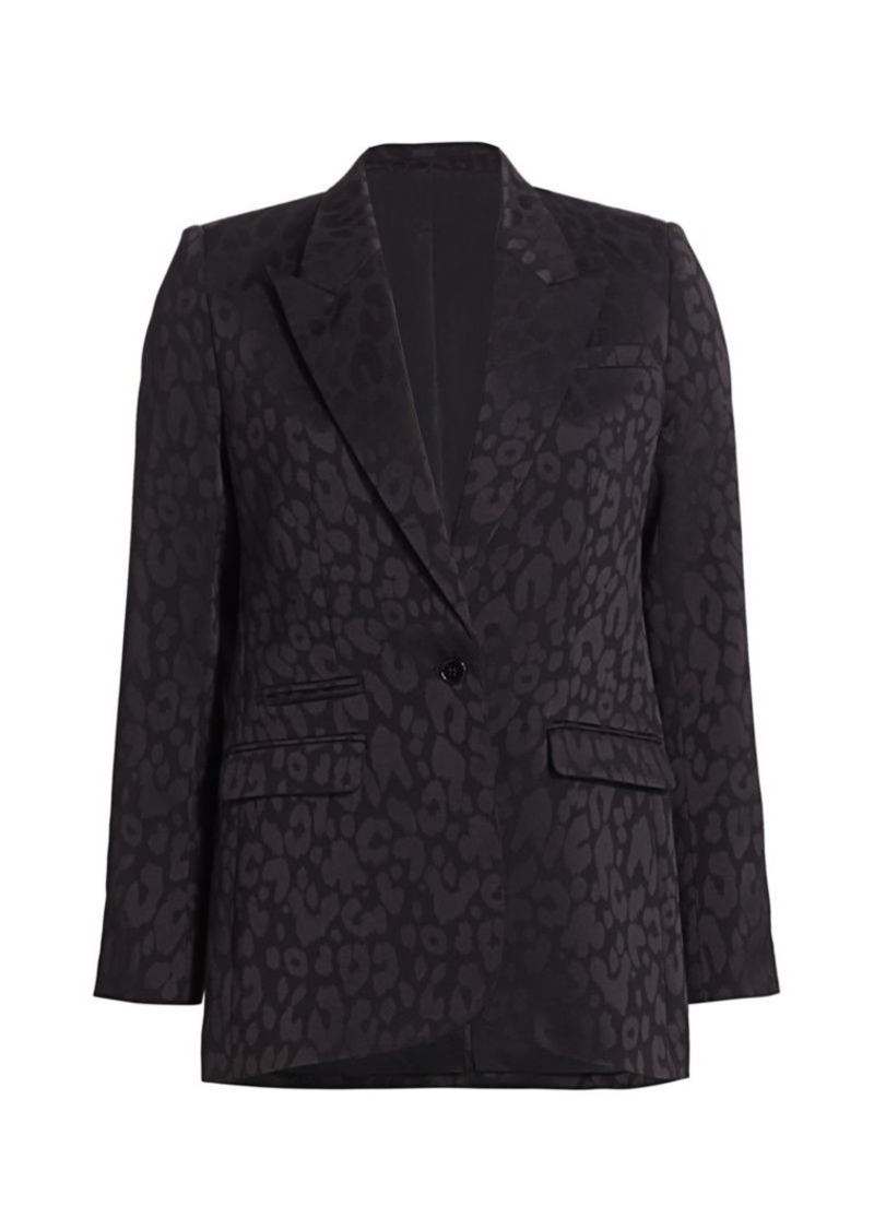 The Kooples Leopard Print Satin Blazer