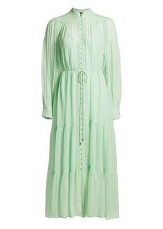 The Kooples Long-Sleeve Semi-Sheer Tiered Maxi Dress