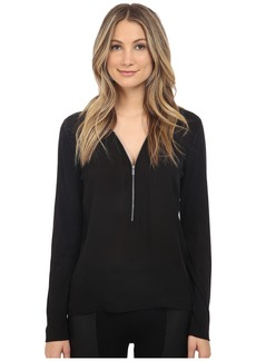The Kooples Long Sleeve Signature T-Shirt in Silk and Jersey