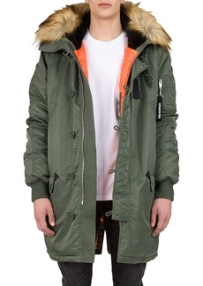 The Kooples Men's Parka with Faux Fur Hood