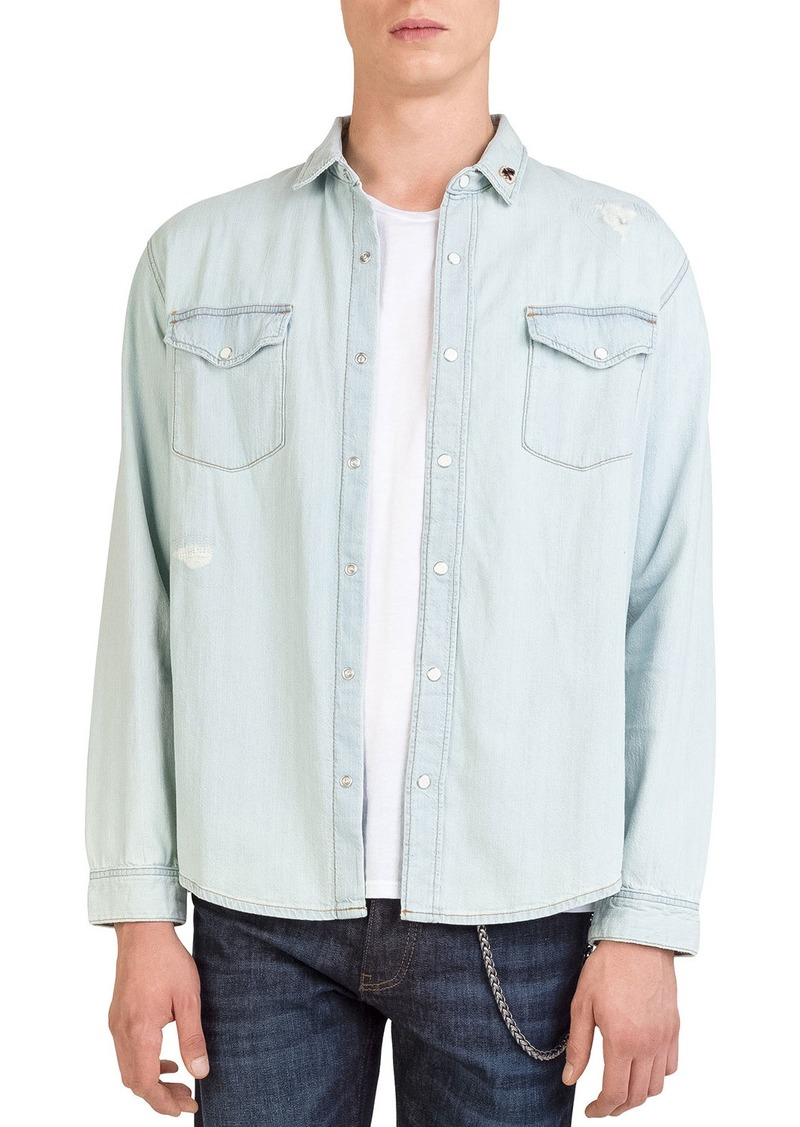 The Kooples Men's Ripped Denim Sport Shirt