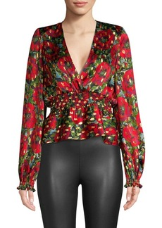 The Kooples Metallic Floral Wrap Blouse