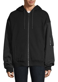 The Kooples Mix Media Zip Up Hoodie