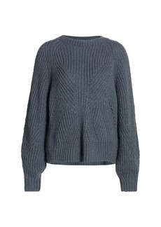 The Kooples Mixed Cable Knit Blouson-Sleeve Sweater