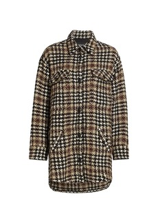 The Kooples Mixed Houndstooth Button-Up Overshirt